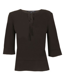 French Connection Womens Black Classic Crepe Light Tie Neck Top
