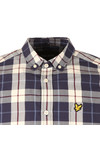 Lyle and Scott Mens Off-white Poplin Check Shirt