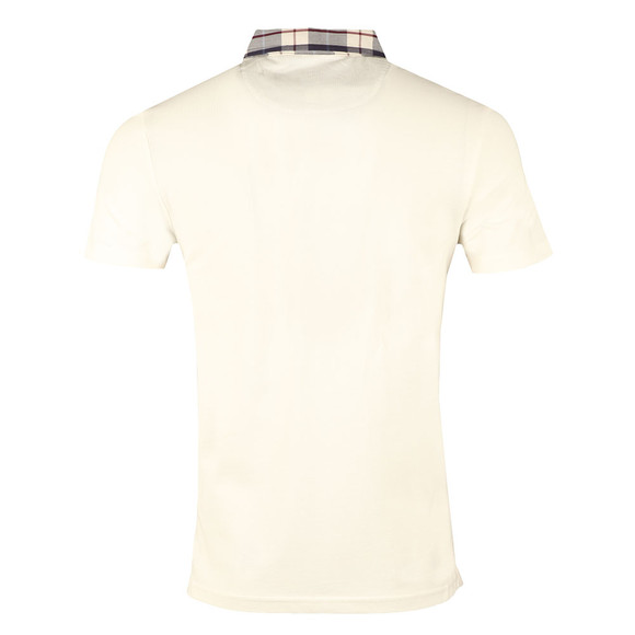 Lyle and Scott Mens Off-White Check Woven Collar Polo Shirt main image