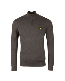 Lyle and Scott Mens Grey 1/4 Zip Cotton Merino Jumper