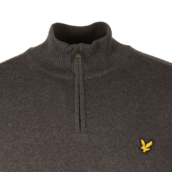Lyle and Scott Mens Grey 1/4 Zip Cotton Merino Jumper main image