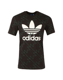 Adidas Originals Mens Black S/S Trefoil Aop Tee