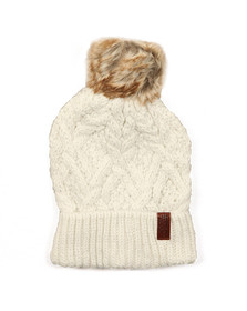 Superdry Womens Off-white Nebraska Cable Beanie