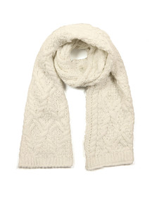 Superdry Womens Off-white Nebraska Cable Scarf