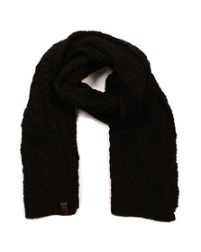 Superdry Womens Black Nebraska Cable Scarf