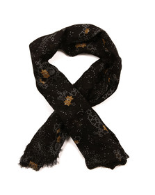 Maison Scotch Womens Black Lightweight Printed Scarf