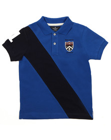 Hackett Boys Blue Diagonal Stripe Polo Shirt
