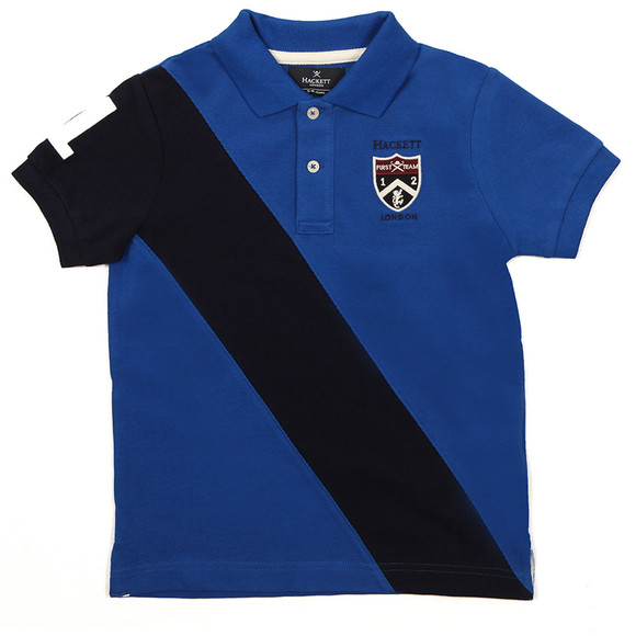 Hackett Boys Blue Diagonal Stripe Polo Shirt main image