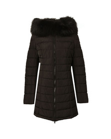 Froccella Womens Black Long Plain Parka