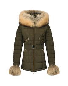Froccella Womens Green Mid Belt Parka