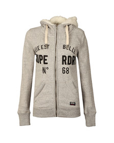 Superdry Womens Grey Applique Zip Hoody