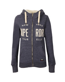 Superdry Womens Blue Applique Zip Hoody