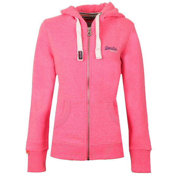 Superdry Womens Blizzard Pink Snowy Orange Label Primary Zip Hoody main image