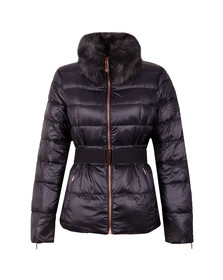 Ted Baker Womens Blue Junnie Faux Fur Collar Down Jacket