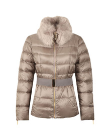 Ted Baker Womens Grey Junnie Faux Fur Collar Down Jacket