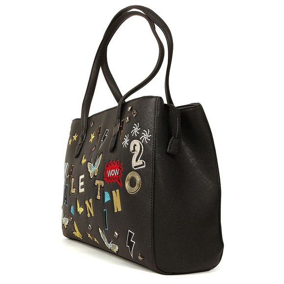 Valentino by Mario Womens Black Patch Tote Bag main image