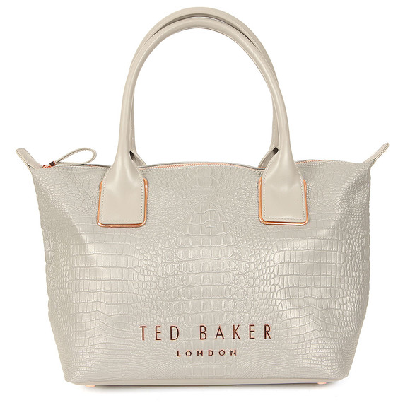 Ted Baker Womens Grey Remus Exotic Small Reflective Tote Bag main image