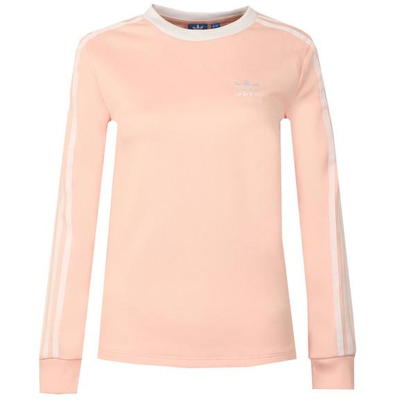 Adidas Originals Womens Pink 3 Stripes Long Sleeve T Shirt main image