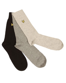 Lyle and Scott Mens Black 3 Pack Socks