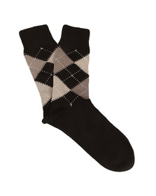 Pretty Green Mens Black Argyle Socks
