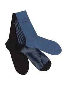 Boss Mens Blue 3 Pack Plain & Patterned Sock