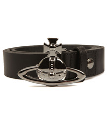 Vivienne Westwood Mens Black Orb Buckle Belt