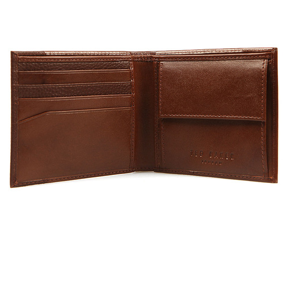 Ted Baker Mens Brown Slippin Leather Grain Bifold Wallet main image