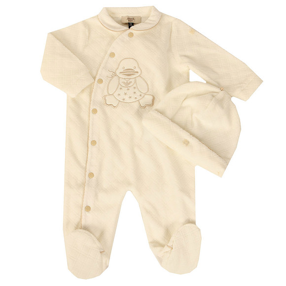 Armani Baby Boys Off-white Duck Logo Romper main image