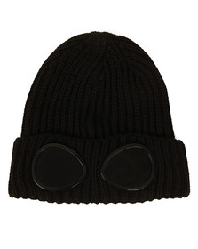 CP Company Undersixteen Boys Black Knitted Goggle Hat