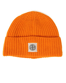 Stone Island Mens Orange Knitted Square Badge Hat