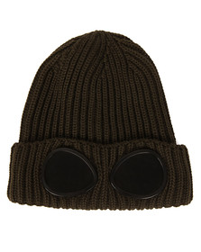 CP Company Undersixteen Boys Green Knitted Goggle Hat
