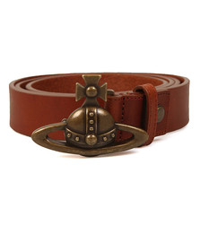Vivienne Westwood Mens Brown Orb Buckle Belt