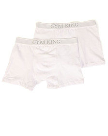 Gym king Mens White 2 Pack Boxer Shorts
