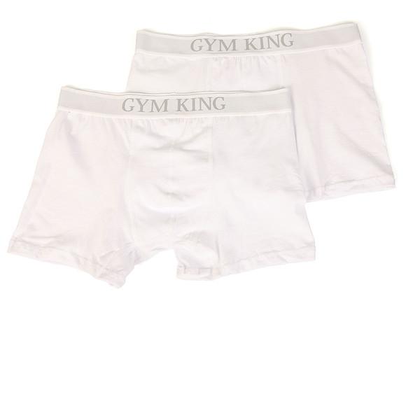 Gym king Mens White 2 Pack Boxer Shorts main image