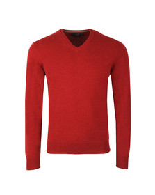 Hackett Mens Red Lambswool V Neck Jumper
