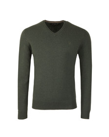 Hackett Mens Green Lambswool V Neck Jumper