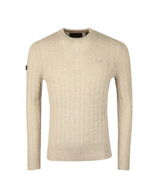 Superdry Mens Grey Harlo Cable Crew Jumper