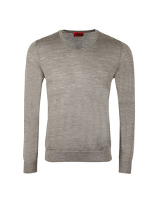 Hugo Mens Grey San Carlo V Neck Jumper