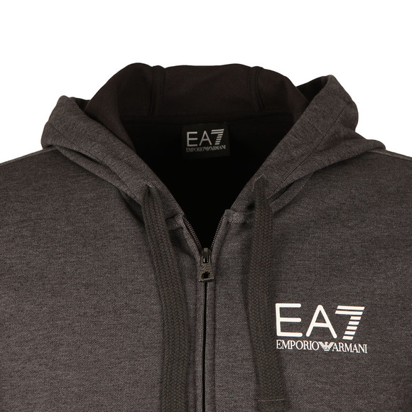 EA7 Emporio Armani Mens Grey Small Logo Full zip Hoody main image