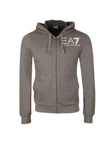 EA7 Emporio Armani Mens Grey Large Logo Melange Zip Hoody