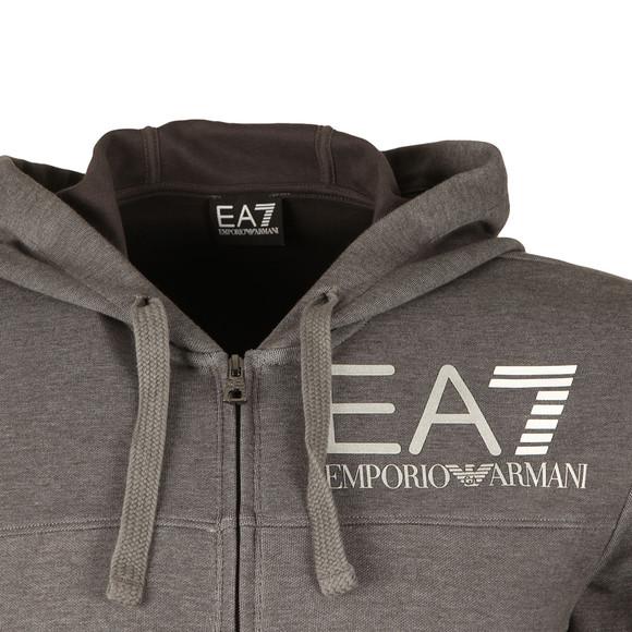 EA7 Emporio Armani Mens Grey Large Logo Melange Zip Hoody main image