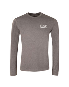 EA7 Emporio Armani Mens Grey Small Logo Long Sleeve T Shirt