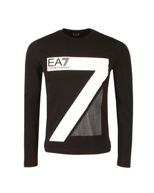 EA7 Emporio Armani Mens Black 7 Logo Long Sleeve T Shirt