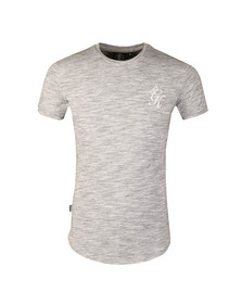 Gym king Mens Grey Long Line Marl Knit Tee