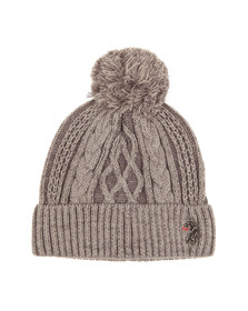 Luke Mens Grey Bailey Plated Cable Beanie