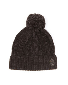Luke Mens Black Bailey Plated Cable Beanie