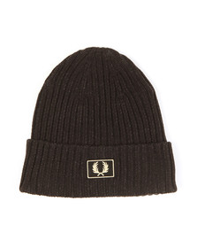 Fred Perry Mens Black 2 Tone Beanie