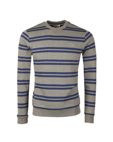Lacoste Mens Grey SH6953 Stripe Sweatshirt