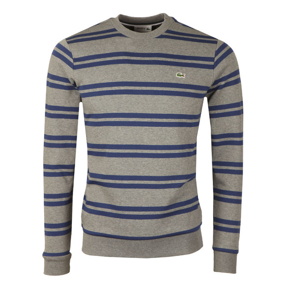 Lacoste Mens Grey SH6953 Stripe Sweatshirt main image