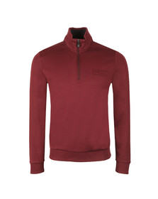 Boss Green Mens Red Half Zip Sweat